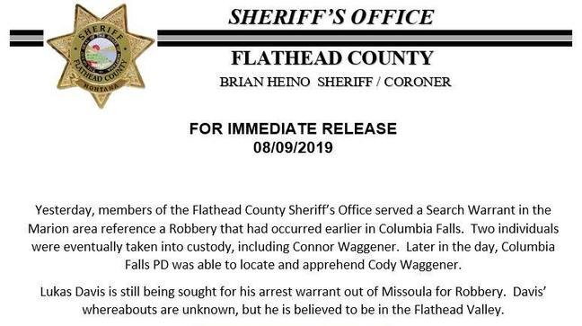 Flathead officials continue to search for robbery suspect | KECI