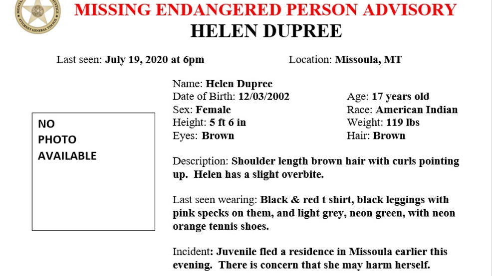 missing endangered person alert issued for 17 year old girl missing in missoula keci missing endangered person alert issued